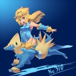 1girl blonde_hair kuromiya long_hair manectric personification pokemon pokemon_(creature) pokemon_(game) red_eyes
