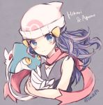 1girl azelf bare_shoulders beanie blue_eyes blue_hair hair_ornament hairclip hat hikari_(pokemon) kabocha_torute pokemon pokemon_(creature) scarf