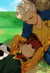 2boys ball blush brown_hair endou_mamoru goalkeeper gouenji_shuuya headband highres inazuma_eleven inazuma_eleven_(series) male multiple_boys raimon raimon_soccer_uniform shade short_hair smile soccer_ball soccer_uniform sportswear telstar tree under_tree yaoi