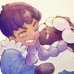 1boy bangs blue_jacket bright_pupils commentary_request dark_skin dark_skinned_male fur-trimmed_jacket fur_trim gen_8_pokemon holding holding_pokemon hop_(pokemon) jacket male_focus one_eye_closed pokemon pokemon_(creature) pokemon_(game) pokemon_swsh purple_hair short_hair smile tt1010 wooloo yellow_eyes