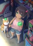 1girl bandaid brown_hair child dararito food green_eyes hair_bobbles hair_ornament highres ice_cream leash looking_up mouth_hold original sandals shiba_inu short_hair shorts side_ponytail sleeveless solo tan tanline