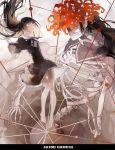 1girl 3: akemi_homura barefoot black_hair bone character_name closed_eyes dress floating_hair flower funeral_dress highres homulilly lily_(flower) long_hair mahou_shoujo_madoka_magica mahou_shoujo_madoka_magica_movie nine_(liuyuhao1992) revision ribs skeleton skull spider_lily spine spoilers