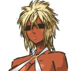 1girl bleach blonde_hair breasts cleavage criss-cross_halter dark_skin halter_top halterneck large_breasts long_hair nameo_(judgemasterkou) solo spiky_hair sunglasses tier_harribel upper_body
