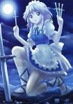 1girl :o absurdres ankle_lace-up blue_eyes braid clouds cloudy_sky cross-laced_footwear giantess highres izayoi_sakuya knife maid maid_headdress manzi moon night night_sky open_mouth planted_knife planted_weapon ribbon shoes short_hair silver_hair sky socks solo star_(sky) starry_sky touhou twin_braids weapon white_legwear