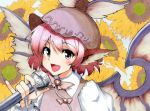 1girl :d animal_ears claws fingernails floral_background flower hat long_fingernails marker_(medium) microphone millipen_(medium) mystia_lorelei nail_polish open_mouth pink_eyes pink_hair pinky_out shiratama_(hockey) short_hair singing smile solo sunflower touhou traditional_media wings