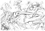 1girl 4boys arakawa_hiromu battle buccaneer_(fma) food fullmetal_alchemist highres miles multiple_boys official_art olivier_mira_armstrong scar scar_(fma) sketch solf_j_kimblee sword weapon
