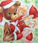 1girl aisaka_taiga animal_costume bear_costume brown_hair closed_eyes hat highres hug izumo_neko long_hair santa_costume santa_hat stuffed_animal stuffed_toy teddy_bear thigh-highs toradora!