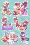 6+girls alternate_costume blonde_hair blue_(pokemon) blue_hair brain_freeze brown_hair chibi crystal_(pokemon) dual_persona eating eevee espeon fan flareon flower food fruit glaceon hair_ornament hair_ribbon hairclip haruka_(pokemon) haruka_(pokemon)_(remake) highres hikari_(pokemon) ice_cream japanese_clothes jolteon kabocha_torute kimono kotone_(pokemon) leafeon long_hair mei_(pokemon) melon multiple_girls no_headwear paper_fan pikachu pikachu_(cameo) pokemon pokemon_(creature) pokemon_(game) ponytail radio ribbon serena_(pokemon) sunflower sylveon touko_(pokemon) twintails two_side_up uchiwa umbreon vaporeon wading_pool
