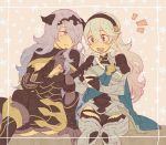 2girls aisutabetao armor black_armor blush breasts camilla_(fire_emblem_if) cape cleavage female_my_unit_(fire_emblem_if) fire_emblem fire_emblem_if hair_over_one_eye hairband large_breasts lips long_hair multiple_girls my_unit_(fire_emblem_if) pointy_ears purple_hair red_eyes smile tiara very_long_hair violet_eyes wavy_hair white_hair