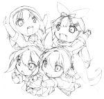 chibi kantai_collection monochrome multiple_girls murasame_(kantai_collection) nonsugar shigure_(kantai_collection) shiratsuyu_(kantai_collection) tagme yuudachi_(kantai_collection)