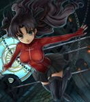 cross curly_hair fate/extra fate/stay_night fate_(series) hamoto holster impossible_clothes impossible_shirt long_hair miniskirt shirt skin_tight skirt solo thigh-highs thigh_boots thigh_holster thigh_strap thighhighs tohsaka_rin toosaka_rin zettai_ryouiki