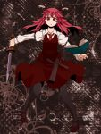 demon_tail head_wings koakuma legs long_hair mary_janes necktie pantyhose red_eyes red_hair shoes sword tail touhou tsumidango weapon