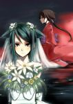 bridal_veil bride brown_hair dress flower japanese_clothes kimono kurame kusari_hime:_euthanasia multiple_girls red_eyes saya saya_no_uta takenaka_hideo veil wedding_dress