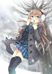 1girl against_tree black_legwear blazer blue_eyes blush brown_hair dress_shirt earmuffs heavy_breathing jacket long_hair looking_at_viewer necktie nekozuki_yuki open_mouth original plaid plaid_skirt shirt skirt snow solo striped striped_necktie thigh-highs tree zettai_ryouiki