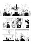 auditorium chainsaw comic crossed_arms gakuran highres horse_head monochrome original profile school_uniform sweatdrop takahashi_umori translation_request