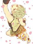 1girl blonde_hair blurry depth_of_field from_above green_eyes huang_baoling jumping mamemo_(daifuku_mame) shoes short_hair shorts sneakers solo tank_top tiger_&_bunny tomboy