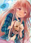 1girl blush crying crying_with_eyes_open efe hata_no_kokoro long_hair mask navel pink_eyes pink_hair plaid plaid_shirt revision solo tears touhou