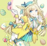 1girl :q animal_ears blue_eyes braid buzz easter_egg gloves leaning_forward light_brown_hair long_hair looking_at_viewer original rabbit_ears smile solo tongue tongue_out twin_braids white_gloves
