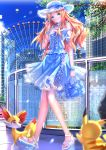 1girl alternate_costume bag bare_shoulders blue_eyes blush bow bracelet brown_hair building city clouds dress earrings fennekin ferris_wheel frills handbag hat highres hot_air_balloon jewelry long_hair meowth pikachu pokemon pokemon_(anime) pokemon_(creature) sandals serena_(pokemon) sky skyscraper smile solo_focus swordsouls tree