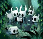 6+others arizuka_(catacombe) bench bird black_skin cape chips commentary_request feathers food helmet highres hollow_knight lying map multiple_others on_stomach outdoors sitting sleeping white_helmet