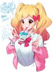 2girls aikatsu!_(series) aikatsu_stars! blonde_hair blush blush_stickers bow bowtie breasts bubble_tea bubble_tea_challenge cardigan character_name chibi chibi_inset collared_shirt commentary_request cropped_torso cup disposable_cup double_v drink drinking_straw drinking_straw_in_mouth gyaru hair_bow highres kogal long_sleeves loose_bowtie medium_breasts multiple_girls nail_polish nijino_yume object_on_breast open_cardigan open_clothes pink_bow pink_cardigan pink_hair sakuraba_rola scrunchie shirt signature sleeves_past_wrists supersaiazin-kanako translation_request twintails v white_shirt wrist_scrunchie