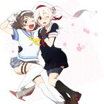 2girls beret black_gloves black_legwear black_skirt brown_eyes brown_hair flower gloves gradient_hair grey_skirt hair_flower hair_ornament hairband harusame_(kantai_collection) hat ikeshita_moyuko kantai_collection kneehighs looking_at_viewer multicolored_hair multiple_girls neckerchief one_eye_closed pink_eyes pink_hair pleated_skirt sailor_collar school_uniform serafuku short_hair side_ponytail skirt tanikaze_(kantai_collection) thigh_strap white_gloves white_legwear