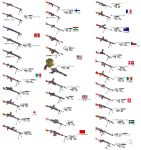 absurdres american_flag chart dp-28 gun highres japanese_flag machine_gun mg34 mg42 no_humans original rpd stalingrad_cowboy tagme type_96 type_99_light_machine_gun weapon weapon_request