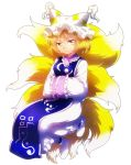 1girl amber_eyes blonde_hair fox_tail frills hat multiple_tails onyuuuu pillow_hat short_hair simple_background solo tabard tail touhou white_background yakumo_ran yellow_eyes