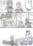 admiral_(kantai_collection) anger_vein black_legwear blonde_hair blue_hair check_translation comic head_bump i-19_(kantai_collection) i-58_(kantai_collection) i-8_(kantai_collection) inazuma_(kantai_collection) kantai_collection long_sleeves military military_uniform mo_(kireinamo) nanodesu_(phrase) naval_uniform partially_colored pink_hair tenryuu_(kantai_collection) thigh-highs translated translation_request trembling uniform