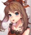 1girl blue_eyes blush brown_hair earrings eyelashes eyeshadow hair_ribbon haruka_(pokemon) haruka_(pokemon)_(remake) jewelry kawacy lipstick looking_at_viewer makeup parted_lips poke_ball_theme pokemon pokemon_(game) pokemon_oras portrait ribbon sleeveless sleeveless_shirt smile solo sparkle two_side_up