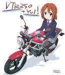 1girl brown_eyes brown_hair highres hirasawa_yui honda_vtr250 k-on! maruyo motor_vehicle motorcycle pantyhose riding school_uniform short_hair vehicle