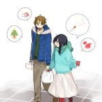 1boy 1girl black_hair blue_eyes box brown_eyes brown_hair christmas_tree gift hat jacket kitashirakawa_tamako long_hair mittens momose_(oqo) ooji_mochizou pantyhose party_popper pointing santa_hat scarf short_hair tamako_market winter_clothes
