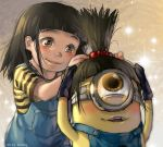 1girl agnes_(despicable_me) artist_name black_gloves black_hair blush brown_eyes despicable_me glint gloves goggles hair_bobbles hair_ornament high_ponytail kawacy minion_(despicable_me) overalls shirt striped striped_shirt wig yellow_skin