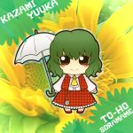 1girl artist_request blush character_name chibi copyright_name flower green_background green_hair kazami_yuuka red_eyes short_hair smile soramame1110 sunflower touhou umbrella
