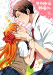1boy 1girl alternate_eye_color blush cheek_squash copyright_name gekkan_shoujo_nozaki-kun hashimoto_(yanagi-momo) height_difference long_hair nozaki_umetarou orange_eyes orange_hair pleated_skirt polka_dot_bow sakura_chiyo skirt