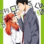 1boy 1girl blush copyright_name gekkan_shoujo_nozaki-kun height_difference nozaki_umetarou official_style orange_hair pleated_skirt polka_dot_bow sakura_chiyo sawao_(kenban2) school_uniform skirt