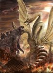 absurdres battle cityscape fire godzilla godzilla_(series) highres hipy_(image_oubliees) kaijuu king_ghidorah monster mothra multiple_heads no_humans rodan ruins sky tagme wings