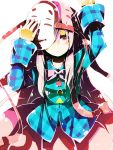 1girl arm_up hata_no_kokoro hazuki_shino highres long_hair mask pink_eyes plaid plaid_shirt solo touhou white_background