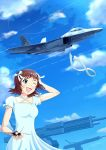 1girl absurdres ace_combat ace_combat_04 amami_haruka bow breasts brown_hair clouds collarbone condensation_trail dress emblem f-22 green_eyes hair_bow hair_ribbon highres idolmaster isaf military mobius_1 mobius_strip model one_eye_closed pilot ribbon short_hair signature sky small_breasts smile solo_focus stonehenge_(ace_combat) thompson white_dress
