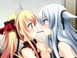 2girls bare_shoulders blonde_hair bloody_rondo blue_eyes blush game_cg linette_vance long_hair luna_freed_queen makita_maki multiple_girls pocky pocky_kiss profile red_eyes shared_food silver_hair tiara twintails wrist_grab