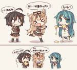 >_< 3girls :> black_gloves black_hair black_skirt blonde_hair braid chibi dress drooling eating food gloves green_eyes green_hair hair_flaps hair_ornament hair_ribbon hairclip happy kantai_collection kata_meguma long_hair multiple_girls neckerchief necktie o_o ribbon saya saya_no_uta scarf school_uniform serafuku shaded_face shigure_(kantai_collection) single_braid skirt spitting sundress tehepero very_long_hair white_scarf yuudachi_(kantai_collection)