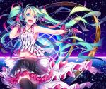 1girl gloves green_eyes green_hair hand_on_headphones hatsune_miku headphones headset kina_(446964) long_hair midriff navel open_mouth outstretched_arm piano_print skirt solo thigh-highs twintails very_long_hair vocaloid