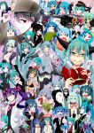 6+girls :q absurdres arms_up bandages bandaid bikini_top chain chibi closed_eyes crown detached_sleeves earmuffs grin hachune_miku hat hatsune_miku headset highres long_hair miku_append mikudayoo multiple_girls necktie one_eye_closed open_mouth sakura_miku school_uniform serafuku shiteyan'yo skirt smile songover spring_onion tears thigh-highs tongue tongue_out twintails v very_long_hair vocaloid vocaloid_append yuki_miku