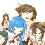 5girls black_hair blue_hair book brown_hair choukai_(kantai_collection) closed_eyes detached_sleeves girl_sandwich glasses glasses_removed hairband haruna_(kantai_collection) hiei_(kantai_collection) kantai_collection long_hair lying multiple_girls nontraditional_miko samidare_(kantai_collection) sandwiched school_uniform serafuku short_hair shunrai sleeping sleeping_on_person smile tagme
