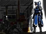 1boy 1girl are_you_my_master armor defense_of_the_ancients dota_2 emiya_shirou_(cosplay) fate/stay_night fate_(series) helm helmet highres luna_(dota) parody saber saber_(cosplay) sketch tagme