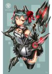 1girl aqua_hair artist_name black_legwear cowboy_shot elbow_gloves english fingerless_gloves flower fur_trim gia gloves hair_flower hair_ornament headgear highres jewelry looking_at_viewer mecha_musume necklace original polearm red_eyes robotic_arms short_hair skirt solo text thigh-highs weapon