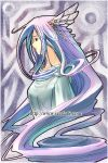 blue_eyes blue_hair hair_ornament head_wings long_hair purple_hair seed_(artist) solo very_long_hair white_hair