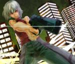 428 androgynous bare_shoulders canaan canaan_(character) grey_hair grin gun muscle red_eyes reverse_trap sleeveless sleeveless_turtleneck smile solo turtleneck under-siege weapon