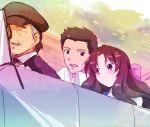 blush brown_hair car couple driving iwasaki_sousuke kurimomo left-hand_drive long_hair matsuzaka motor_vehicle ogasawara_akiko ribbon taishou_yakyuu_musume vehicle
