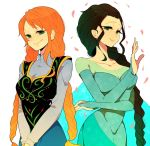 2girls anna_(frozen) anna_(frozen)_(cosplay) black_hair braid breasts cosplay dress elsa_(frozen) elsa_(frozen)_(cosplay) frozen_(disney) green_eyes komomo1214 long_hair looking_at_viewer multiple_girls nami nico_robin one_piece orange_hair petals single_braid smile twin_braids